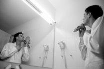 Bräutigam rasiert sicht vor der Trauung